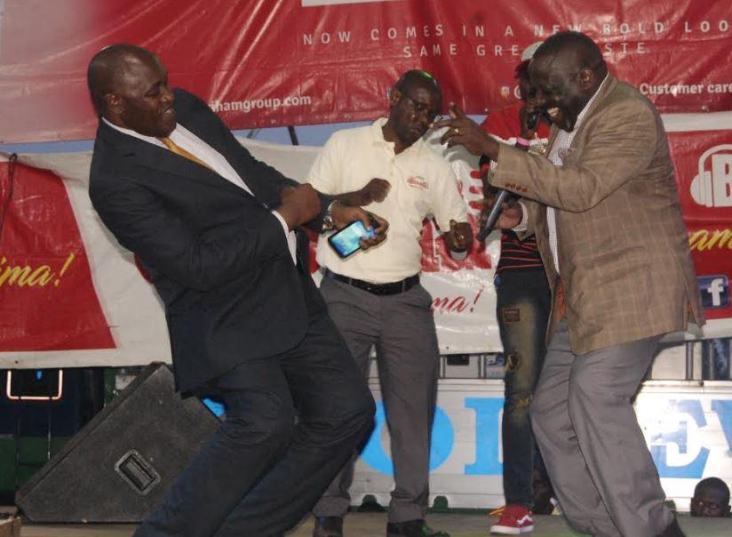 L-R Dr Baryomunsi, Wenceslas Maanige and Nyombi Thembo enjoying the day