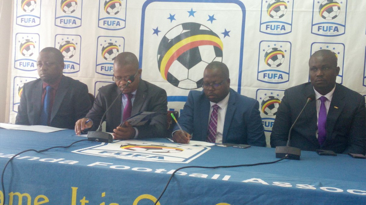FUFA President Moses Magogo (2nd left) addressing journalist at FUFA House on Wednesday, June 10tth-2019.