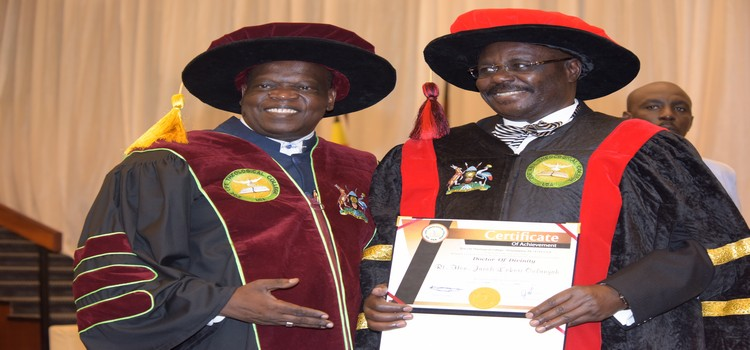 Deputy Speaker Jacob Oulanyah after recieving a certificate of Honorary Doctor of Divinity from Zoe Life Theological College USA, at International Conference Centre, Kampala 13th 7 2019