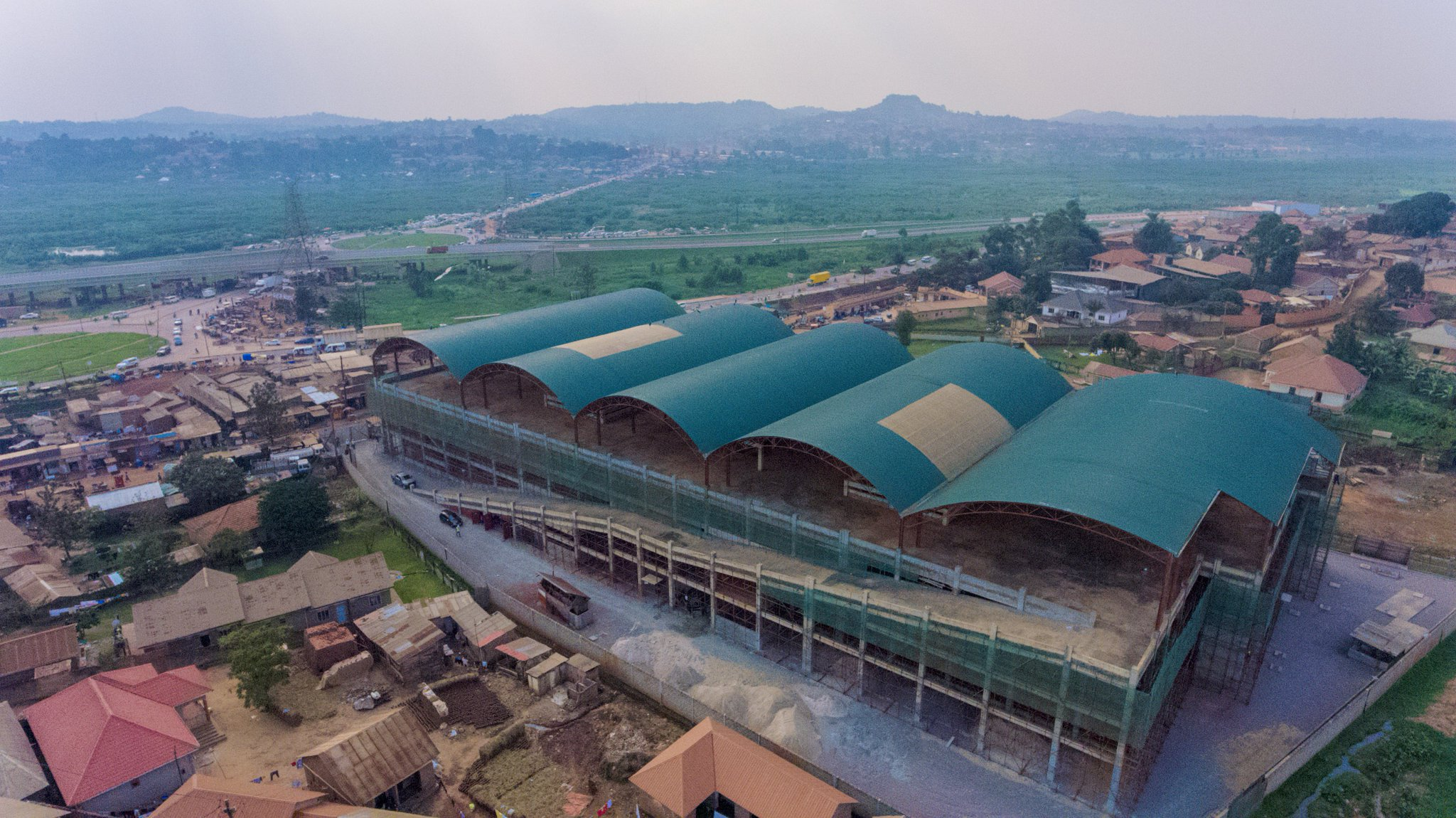 The aerial view new Busega market