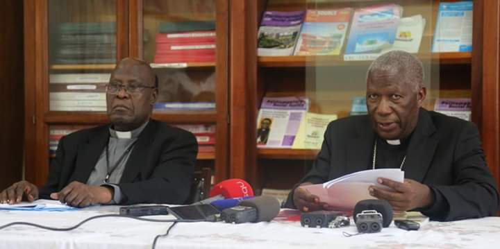 The Chairman, Uganda Episcopal Conference Bishop Joseph Antony Zziwa of Kiyinda-Mityana Diocese, and Msgr. John B. Kauta, who Chairs the SECAM Core Planning Committee at a press conference in Kampala. (PHOTO/File)