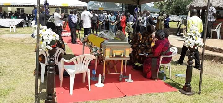 The body of late Mrs Florence Akongo Ochora, wife to former Gulu Resident District Chairman,the late Rtd Col Walter Ochora, lies in the casket at the burial ceremony Saturday July, 20. (PHOTO/DavidOkema)