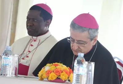 Vatican General secretary Lauren Rugambwa and the Apostolic Nuncio to Uganda HE. Laigi Bainco. (PHOTO/PML)
