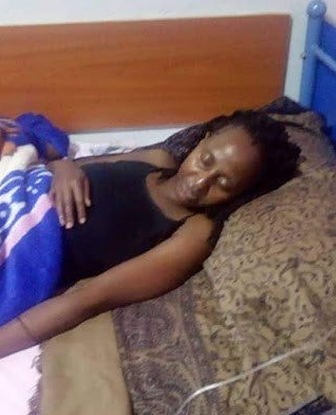 Gandhi Doreen Magezi lies in her hospital bed at Hospital after being saved byMukono Municipality MP Betty Nambooze from her alleged torture ordeal in Jordan, (PHOTO/Courtesy)