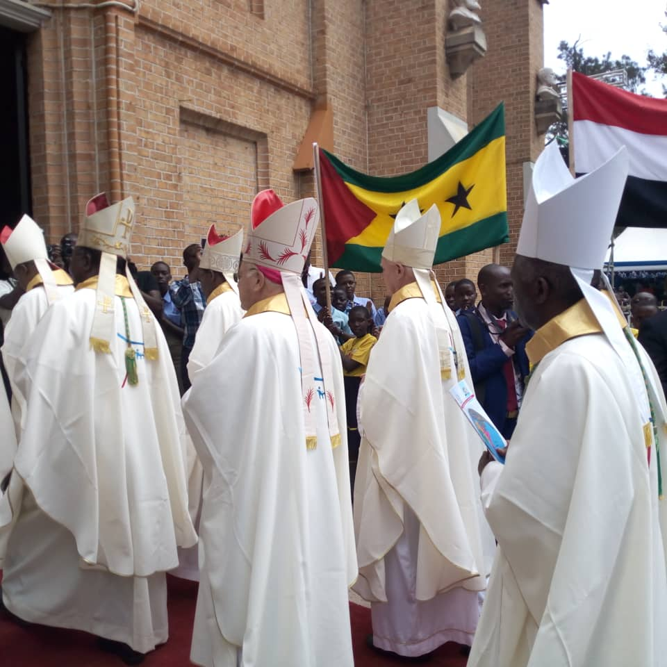 African Bishops entering Lubaga Cathedral ahead of Mass on Sunday Morning. (PHOTO/PML)