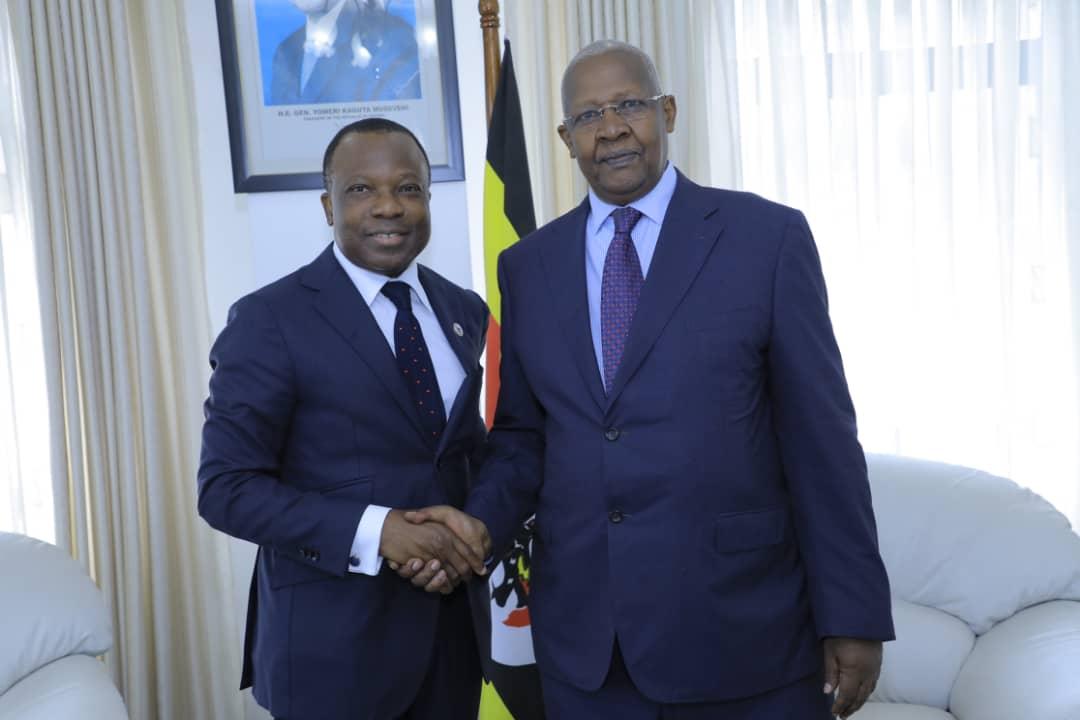 The Ambassador Designate of France to Uganda, H.E. Jules-Armand Aniambossou  and foreign affairs Minister Sam Kutesa at the Ministry Headquarters. (PHOTO/Courtesy)