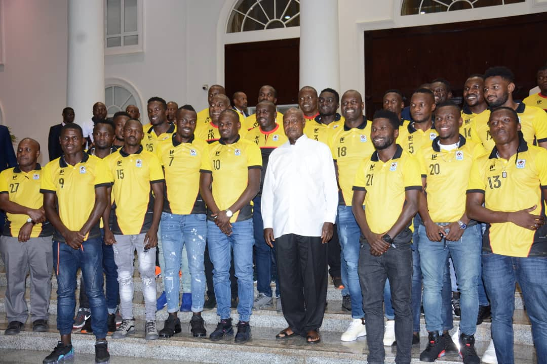 President Museveni with the Cranes at Entebbe on Monday, June 8th 2019. (PHOTOS/FUFA)