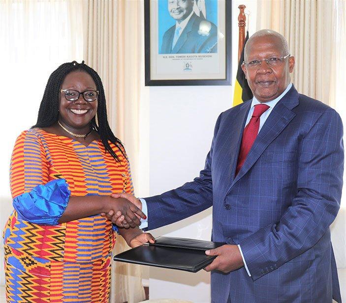 The United Nations Development Programme (UNDP) Resident Representative for Uganda, Ms Elsie G. Attafuah, Minister of Foreign Affairs, Sam Kahamba Kutesa, recently. (PHOTO/File)