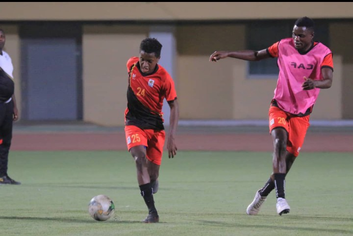Okello (left) in training with the Cranes on Thursday. (PHOTO/FUFA)