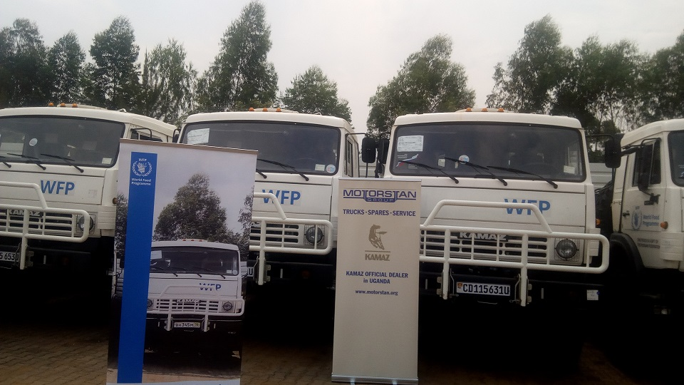 Kamaz trucks that have been donated to WFP by the Russian government
