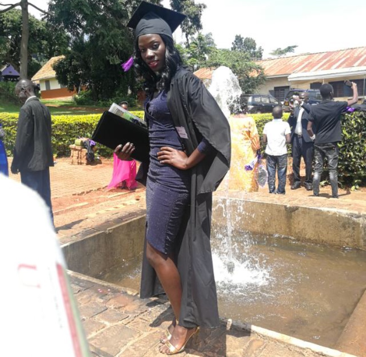 She-Cranes goalkeepers, Ruth Aturo shares a pictorial moment upon graduation from Uganda Christian University, Mukono on Friday July 5. (PHOTO/Namajja Elizabeth)