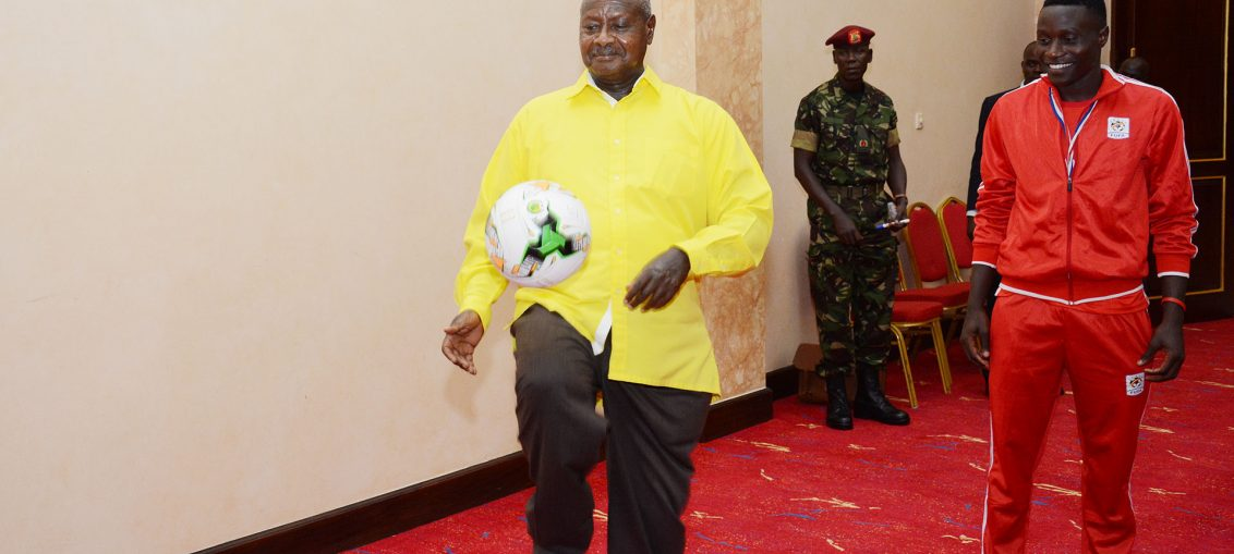 President Museveni has in the past hosted the Uganda Cranes. (PHOTOS/Agencies)