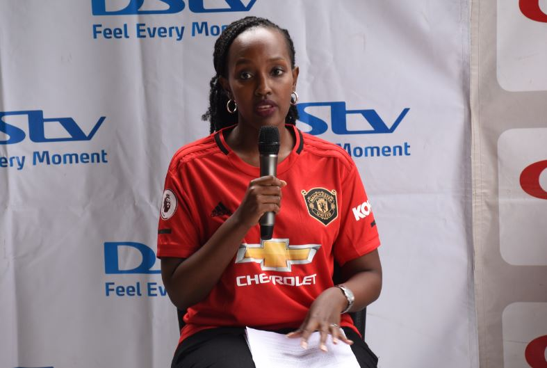 MultiChoice Uganda PR, Joan Ssemanda Kizza, speaking at the launch of the 2018/19 season. (PHOTO/Courtsey)