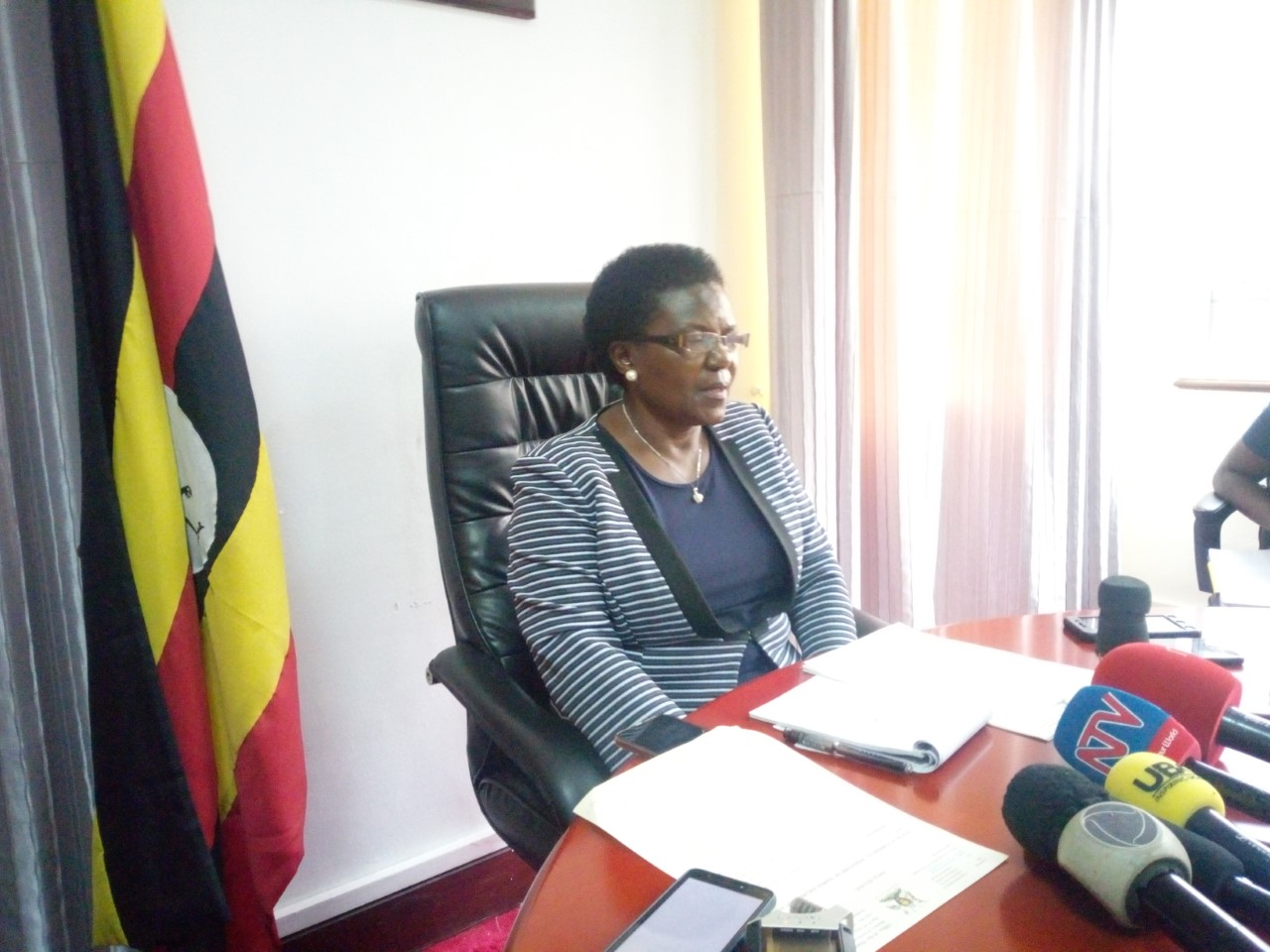 The Minister of Works and Transport, Hon. Monica Azuba Ntege addressing the media about the status of the National Airline (Uganda Airlines) at the Ministry of Works and Transport offices. (PHOTO/Tracy Nayiga)