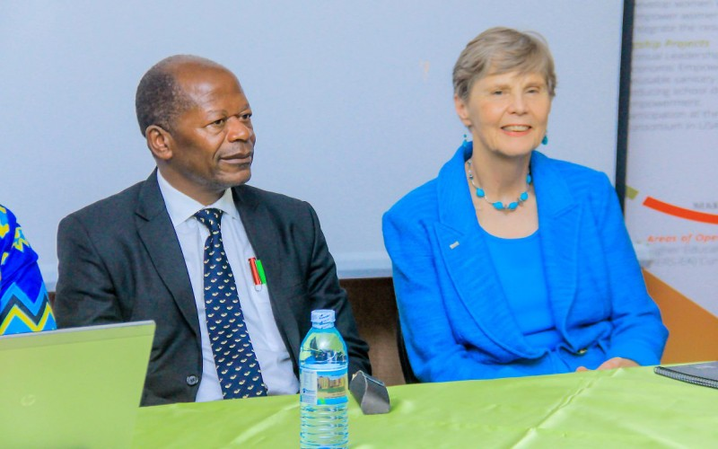 The State Minister for Higher Education, Hon. Dr. John Chrysostom Muyingo (Left) and the Former President and Executive Director of HERS, Prof. Judith White (Right) at the HERS-EA Third Academy closing ceremony, 5th July 2019, Grand Global Hotel, Kampala Uganda