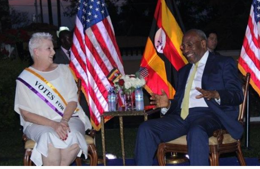 The US ambassador to Uganda Deborah Malac and Prime Minister Ruhakana Rugunda. ( PHOTO/Courtesy)