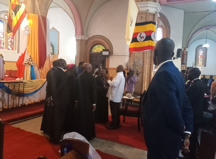 President Museveni in a brief meeting with Church leaders at in the Church Sunday July 21 (PHOTO/Javira Ssebwami)