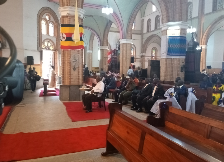 President Museveni patiently waiting for the mass to start. (PHOTO/Javirs Ssebwami)