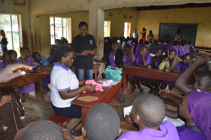Children being trained how to make re-subale towels at Nashibiso Primary School. (PHOTO/ David Mafabi)