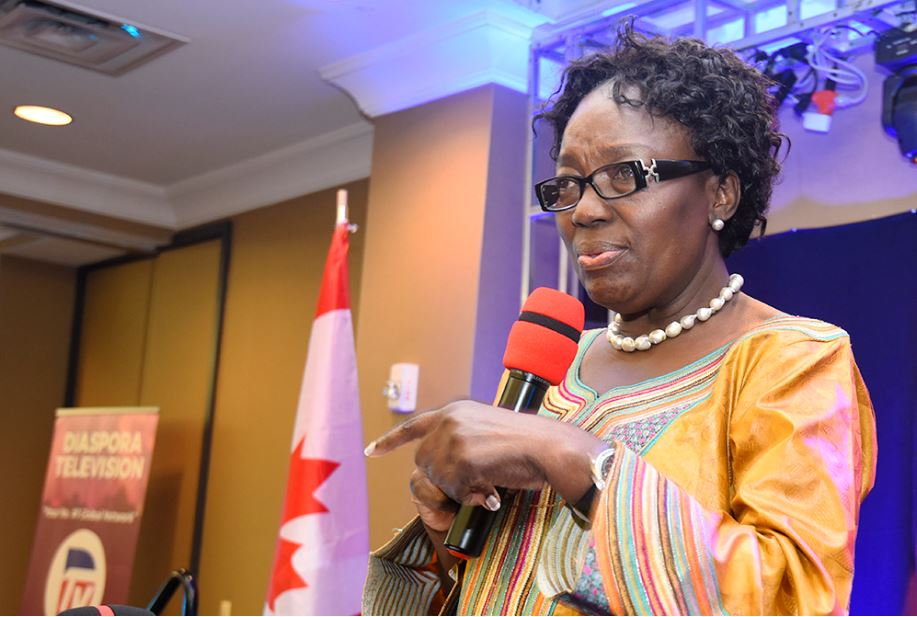 The Speaker of Parliament, Rebecca Kadaga, makes remarks at the Uganda Canadian Business Convention in Toronto. (PHOTO/PML)