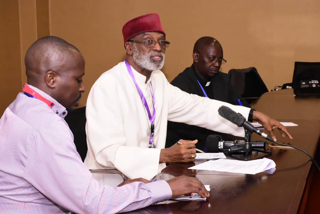 Archbishop Charles Gabriel Palmer-Buckle, of Cape Coast, Ghana also the Treasurer of SECAM addresses the press at Munyonyo. (PHOTO/PML)
