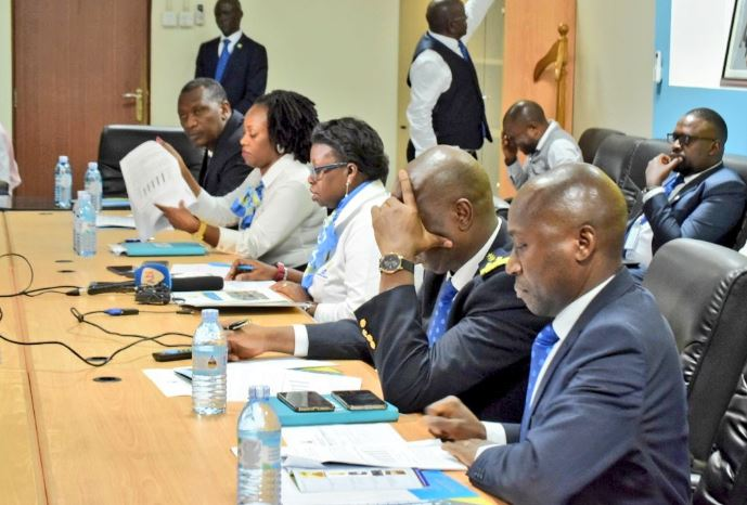 The URA Commissioner General, Doris Akol is joined by other officials as they unveiled their report on revenue collection recently. The Tax body is on the stop as a video of their staff abandoning their till for a party. (PHOTO/URA)