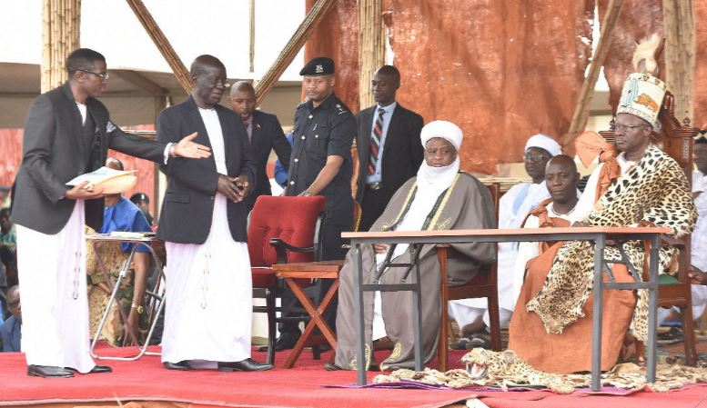 (L-R)Katikkiro of Buganda, Charles Peter Mayiga, Vice President, H. E E.K.Sekandi, His Eminence Sultan Sheik M Sa'ad Abubakar III of Sokoto, Nigeria and Ssaabasajja Kabaka of Buganda at his 26th Coronation Anniversary held at Nkumba, Entebbe. (PHOTO/PML Daily)