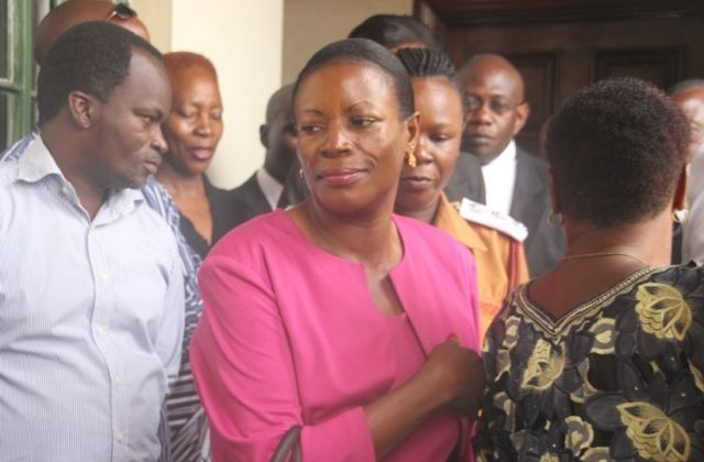 Troubled widow to Eriya Bugembe Sebunya alias Kasiwukira, Ms Sarah Nabikolo arrives in court recently. (PHOTO/File)