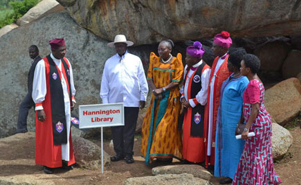 Left to right) Archbishop Stanley Ntagali, President Museveni, Speaker Rebecca Kadaga and other officials at Bishop James Hannington Library in Kyando Village, Mayuge District, on October 29, 2018.