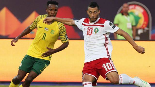 Boussoufa (right) scored the only goal as Morocco beat South Africa on Monday.