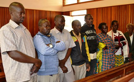 Residents of Kasanje appearing before court during the hearing on Friday.