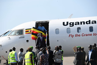 Passengers disembark from a Uganda Airlines Bombardier CRJ-900 plane during one of its maiden commercial flights. (PHOTO/Courtesy)