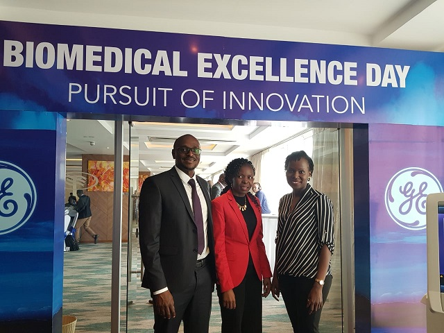 From Right: David Wandabwa, Director of Service, East Africa - GE Healthcare with Millicent Alooh, Secretary General - AMEK and Liza Olwande, Healthcare Project Management Operations Leader Africa - GE Healthcare during the Biomedical Excellence Day held in Nairobi
