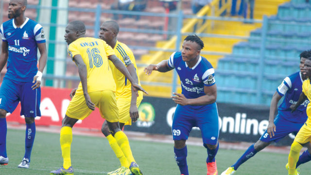 Odumegwu (29) in action against KCCA FC in the CAF Champions League. (PHOTO/Courtesy)