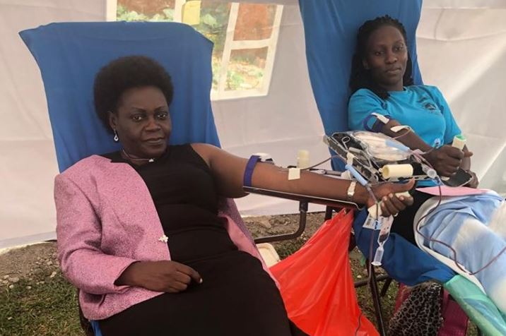 State Minister for Health Sarah Opendi donating blood at the launch of the blood donation drive on Tuesday (PHOTO/Courtesy)