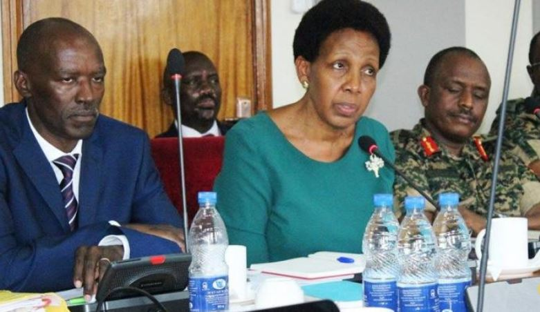Defence Ministry Accounting Officer Edith Buturo appearing before PAC with others.