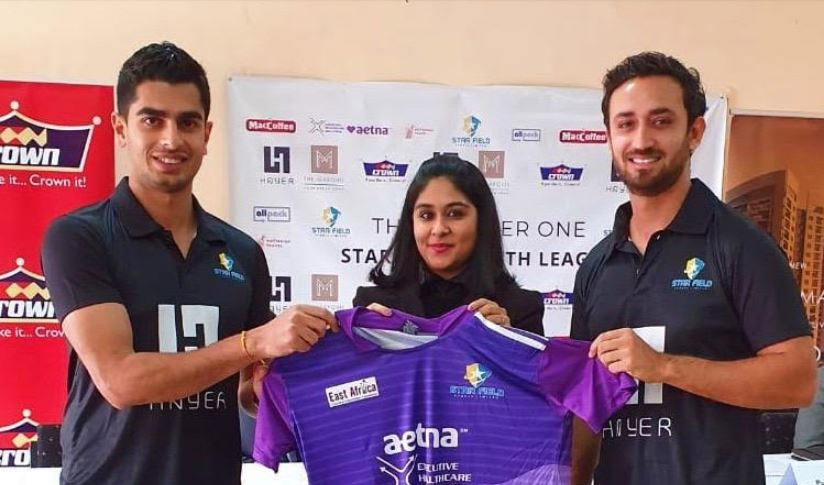 Executive Health Solutions, Purnima Gandhi (c) with Star Field Sports Directors, Veer Dave (L) and Karan Kaul at the media launch of the Hayer One Star Field Youth Cricket League 2019 at Nairobi Gymkhana.