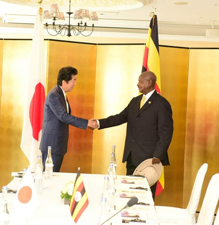 President Museveni and Minister Abe  in Yokohama, Japan. (PHOTO/PPU)
