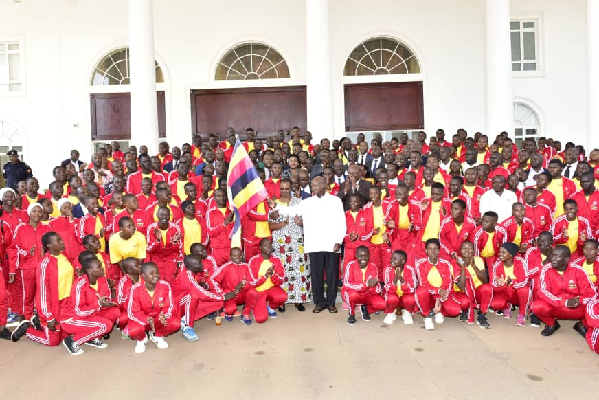 President Museveni (white shirt) flagging off team Uganda for the FEASSSA games. (PHOTO/Courtesy)