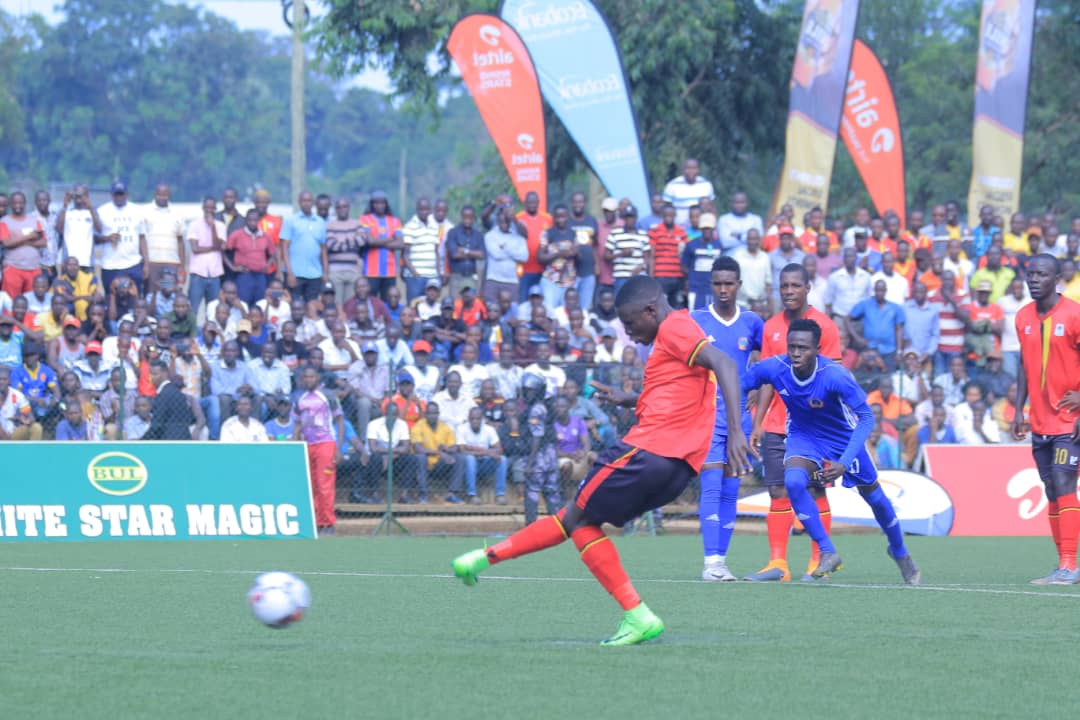 Patrick Kaddu dispatches a penalty against Somalia on last Saturday.
