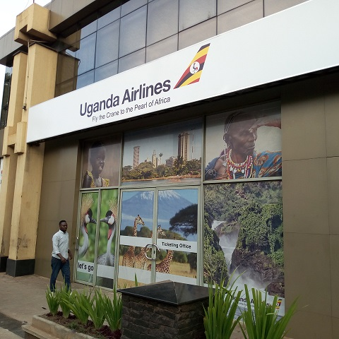 The Ticketing office for Uganda Airlines located on Jinja road, at Victoria University Kampala  Building ( Photo / Abraham MUTALYEBWA)