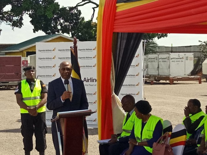 Dr. Rugunda Flagged of Uganda Airlines for the maiden flight to JKIA. (PHOTO/PML Daily)