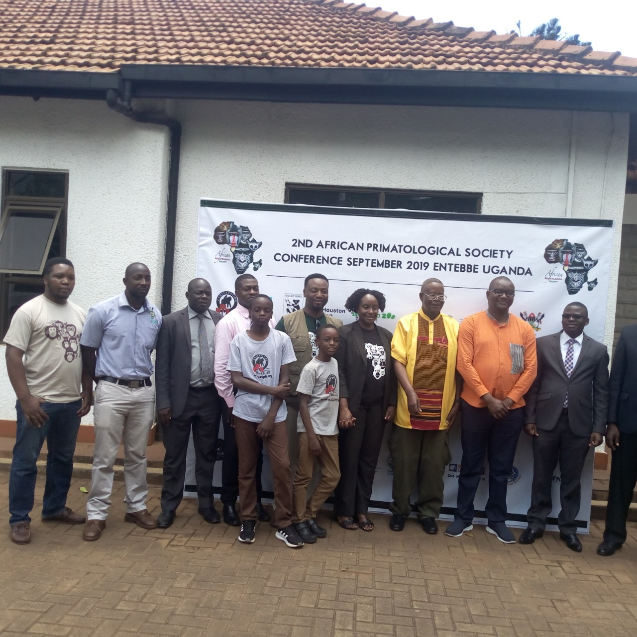 The Organisers of the African Primatological Society Conference 2019 pose for a group photo at Tuesday, August 28, at the Media centre. (PHOTO/ Abraham Mutalyebwa)