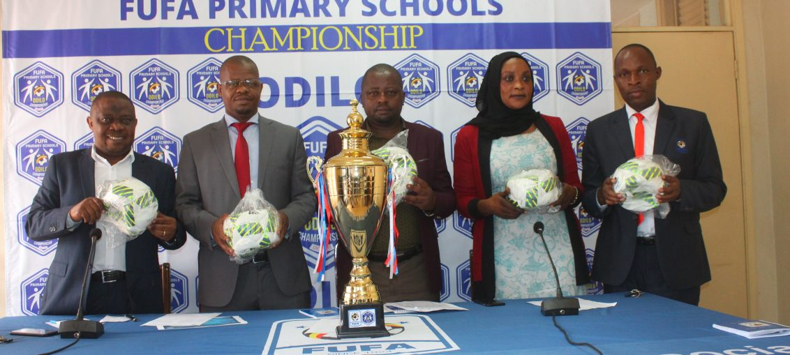 L-R FUFA top brass 1st VP Justus Mugisha, President Eng. Moses Magogo, 2nd VP Darius Mugoye and Competitions Director Aisha Nalule during the press conference for the ODILO draws held on Wednesday. (PHOTO/FUFA)