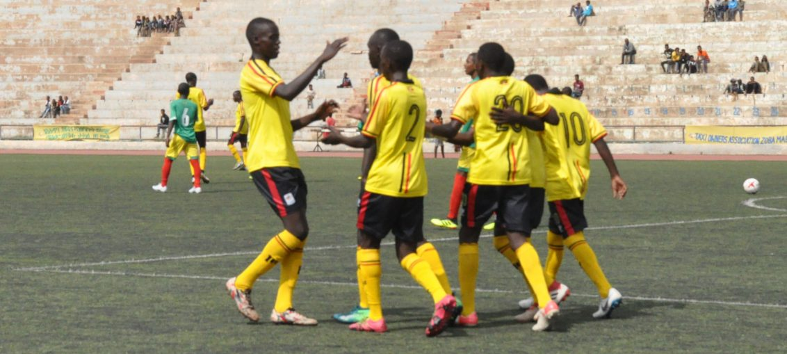 Ugandan players celebrate one of their goals against Ethiopia. (PHOTOS/FUFA)