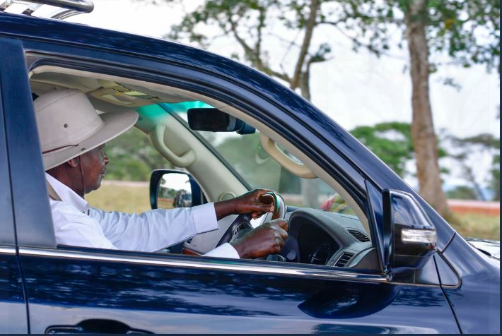 President Museveni posted a picture of himself arriving at his Kisozi ranch, Gomba District in self-drive (PHOTO/PPU)