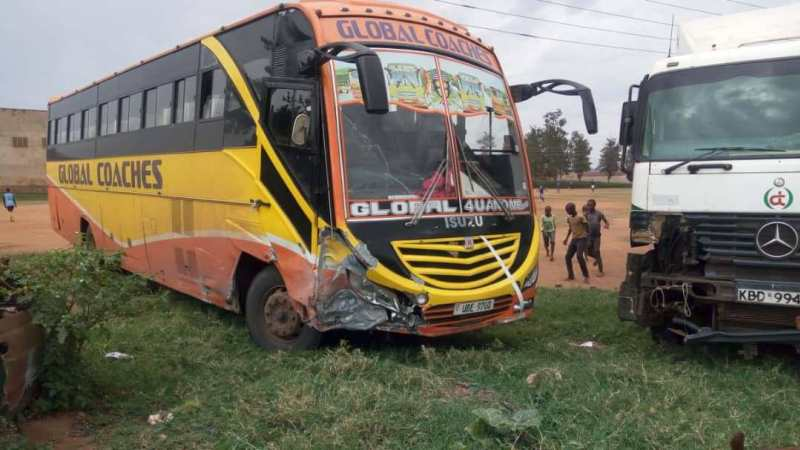 One of the Global buses parked at Mbarara police station after an accident last year in Mbarara. (PHOTO/BobAIne)