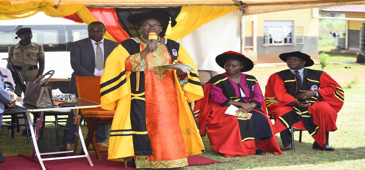 Speaker Kadaga makes her remarks after confering certificates and diplomas to the graduates