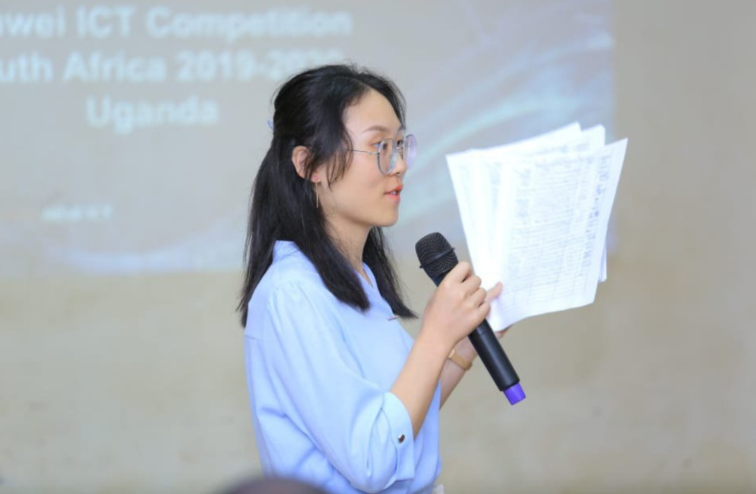 Wu Su Qhi, From the Huawei ICT Academy making a speech at Makerere University College Of Computing and Informational Science. (PHOTO/PML Daily)