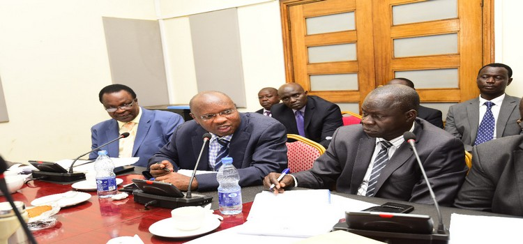 Hon Cheptoris(Extreme Right) lead other ministry officials to the committee